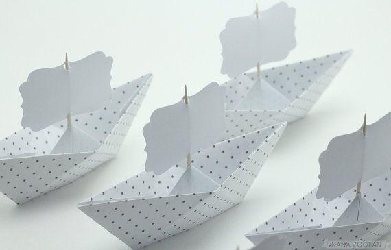 6 cartes de nom Place de bateau en papier / par NANAZOOLAN sur Etsy, $12.50