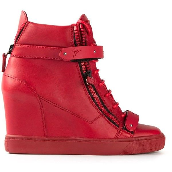 Red leather hi-top sneakers from Giuseppe Zanotti Design featuring a round toe, a lace-up front fastening, velcro fastenings, side zip fastenings, a geometric …