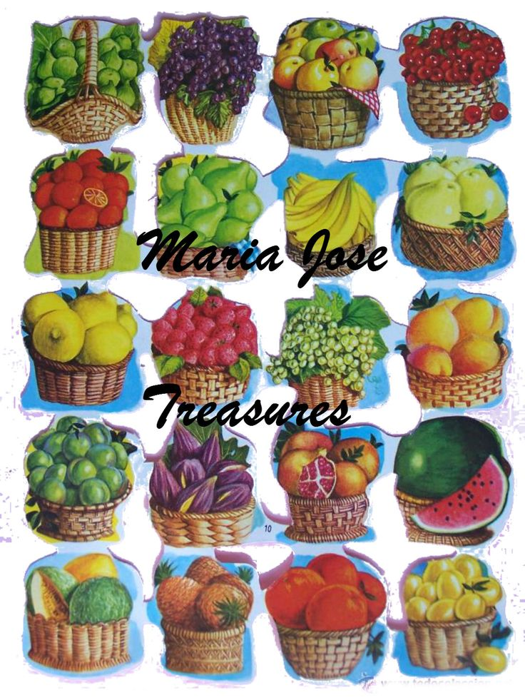 "Vintage Scraps, Cromos ""Baskets of fruits""  - Digital Download by MariaJoseTreasures on Etsy"