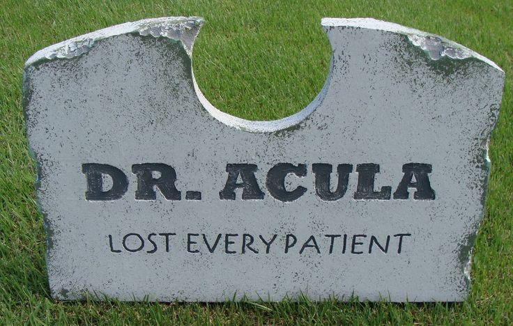 "Halloween 'Dr. Acula' tombstone prop decoration 16""x24""x2"""