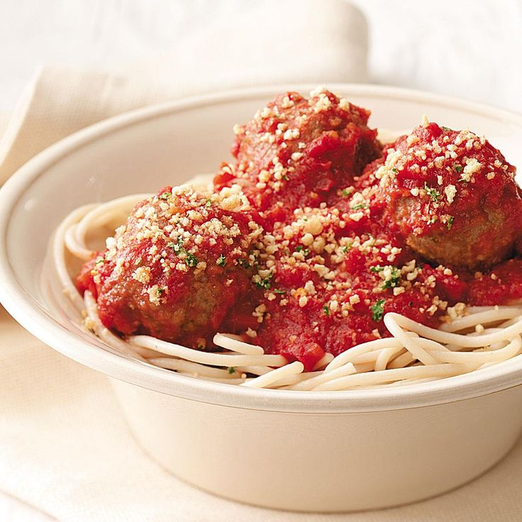 Spaghetti and Meatballs with Garlic Crumbs Recipe -Garlic crumbs add a nice crunch to this spaghetti from my cookbook, <em>Cooking for Isaiah: Gluten-Free & Dairy-Free Recipes for Easy, Delicious Meals</em>. No one would guess this hearty, Italian-style favorite is gluten-free. —Silvana Nardone, Brooklyn, New York