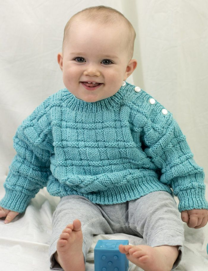 Free Knitting Pattern for Daniel's Pulloverv- Long-sleeved baby sweater in a basketweave stitch with buttons on the shoulder for easy dressing. Sizes 6 months (12 months, 18 months). Designed by Melissa Leapman for Cascade Yarns