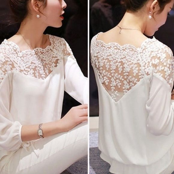 Embroidered lace top Half sheer. Super chic. Material:rayon. 3-m 3-L Tops Tees - Long Sleeve
