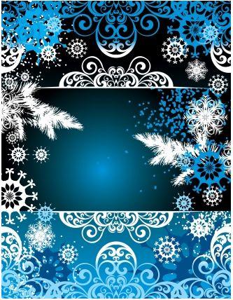 Christmas frame with snow vector design