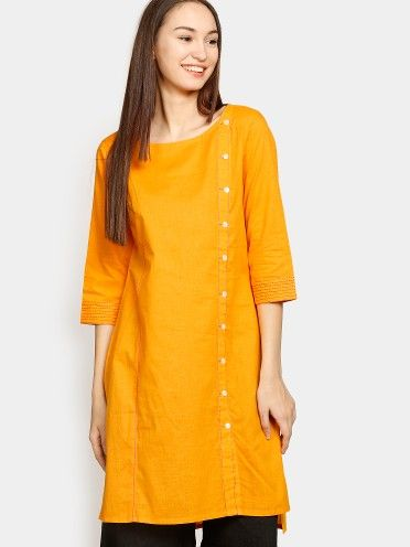 Yellow kurta in a patterned weave, has a round neck, full mock button placket on the front, three-quarter sleeves with contrast stitched detail along the sleeve hems, extended back hem, side slits