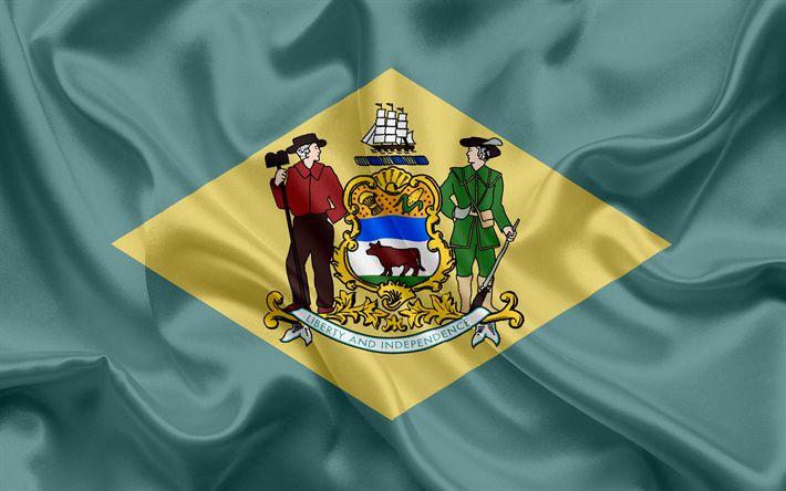 Hämta bilder Delaware Flagga, flaggor av Stater, flagga Delaware State, USA, staten Delaware, Grönt silke, Delaware vapen