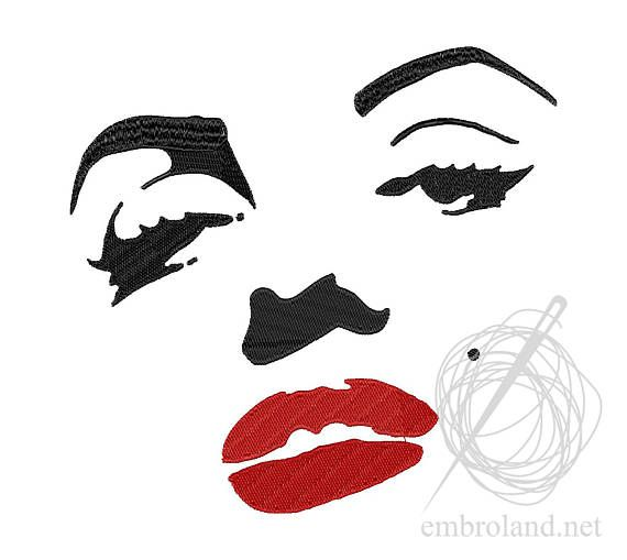 Marilyn Monroe Machine Embroidery Design Instant Download