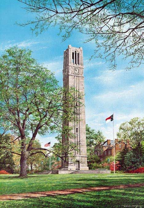 Memorial Bell Tower - NC State University by William Mangum
