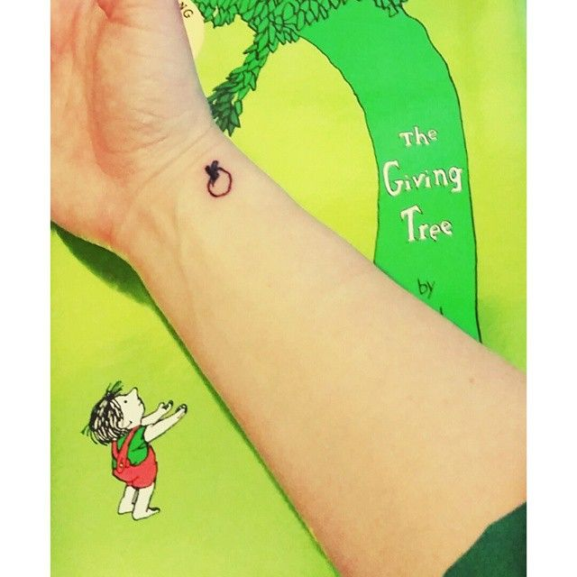 Pin for Later: Bibliophiles Only: 19 Tiny Tattoos Inspired by Books Apple, The Giving Tree
