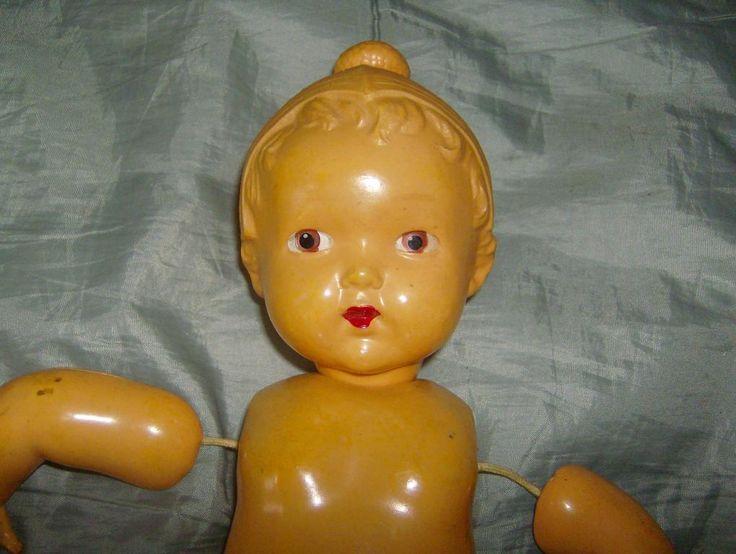 кукла редкая  в шапочке охтинская 30см целлулоид