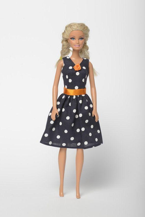 "Handmade Barbie doll clothes, Barbie dresses, Barbie outfit - ""Small evening dots 2."" Barbie dress  (268)"