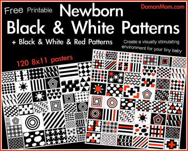 Free Printable Black White Red Patterns For Your Newborn Vision Stimulation Pinterest Baby Care And Montessori