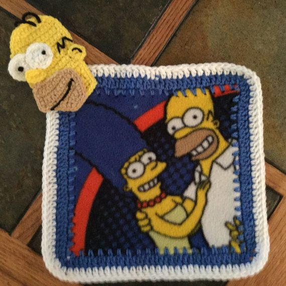 Homer Simpson Crochet and Fleece Lovey by CrochetCreations4You