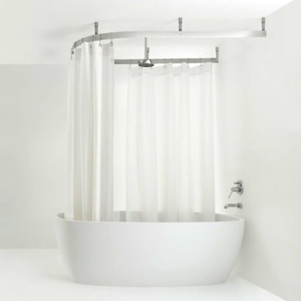 Bathtub Shower Design With Curtain Rail And Polished Stainless Steel Strip Large Shower