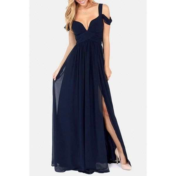High Slit Chiffon Maxi Dress (100 BRL) ❤ liked on Polyvore featuring dresses, gowns, long dresses, gown, vestidos, navy, navy blue evening dress, navy blue evening gown, long evening gowns and long evening dresses