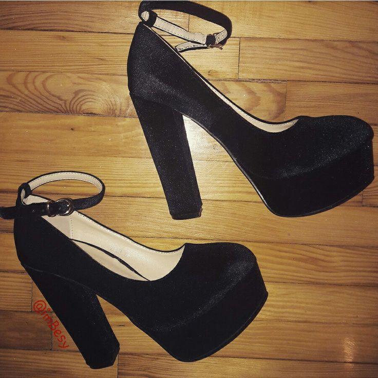 X-mas total must have shoes!  #black #high_heels #heels #velvet by #tsoukalas