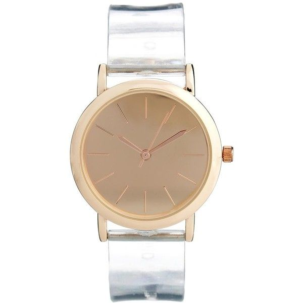 ASOS Transparent Strap Watch ❤ liked on Polyvore featuring jewelry, watches, asos watches, leather-strap watches, see through watches, asos jewelry and transparent watches