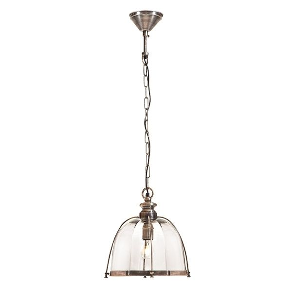 Antique silver hanging pendant light with glass diffuser.Height: 30cmWidth: 32cmChain: 1mAlso available in Antique Brass. Cape Cod Design Sydney