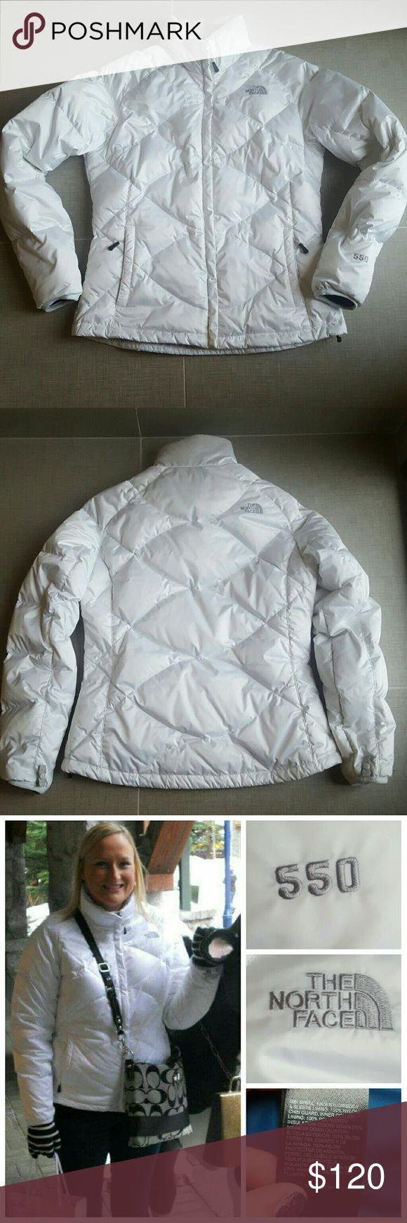"""North Face Down Coat The North Face 550 down jacket in white with gray logo and blue inside. Pockets have zippers, all zippers work perfectly. Measures 22"""" armpit to armpit, 26"""" long and sleeves are 22"""" long from armpit to wrist. In excellent condition, no stains, rips, holes, etc. All photos are of actual coat for sale, purchased at Nordstrom. No trades. Bundle and save!!! North Face Jackets & Coats Puffers"""