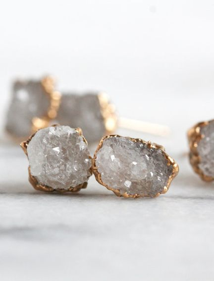 natural crystal quartz druzy earrings