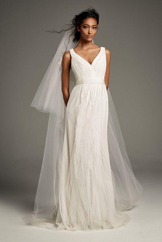 9de6f9e0e Pleated Tulle Flutter-Back Sheath Wedding Dress White by Vera Wang VW351448