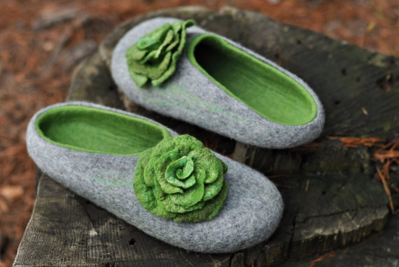 Felted slippers for women  Gray & Green  Made to by ShpilkaFelt, $65.00
