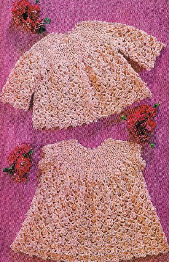 Lacy baby dress and matinee coat set vintage crochet by Ellisadine