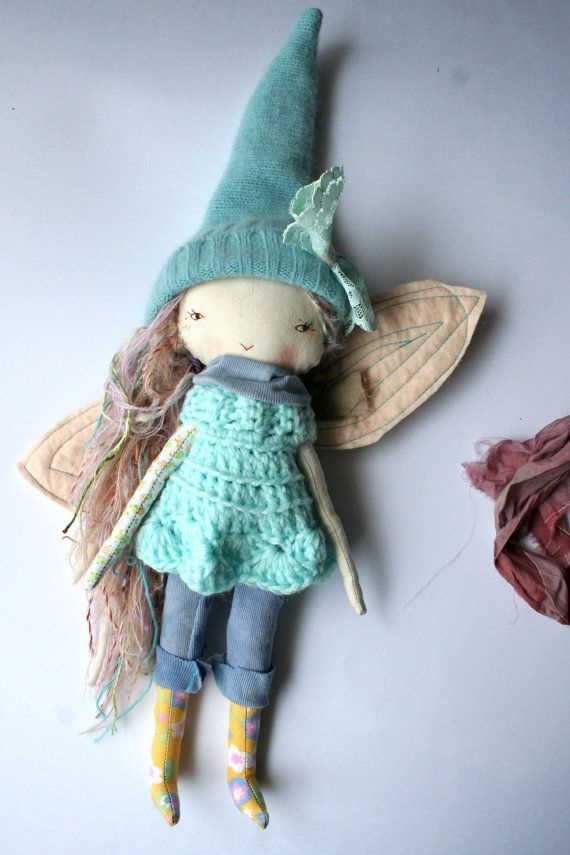 pale rainbow pixie lu doll 12 with wings waldorf by humbletoys