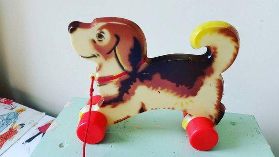 Vintage Beagle dog pull toy nursery kitsch decor