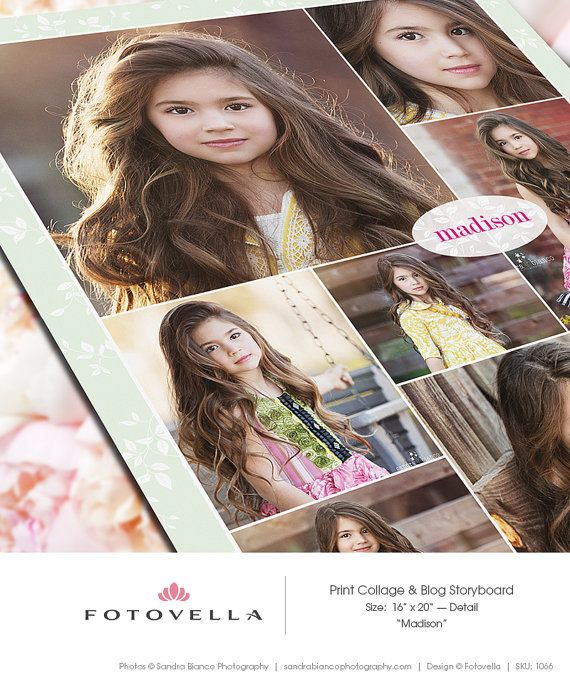 Collage Template  16x20 Print Template  Blog Board  by FOTOVELLA, $8.00