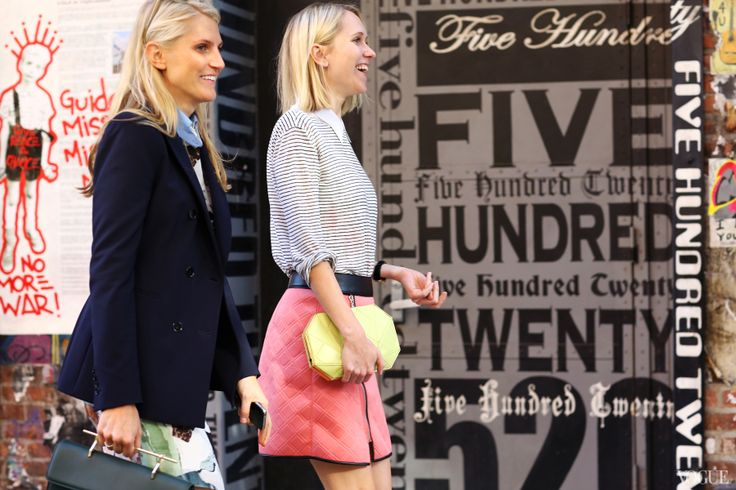 Hayley Bloomingdale and Indre Rockefeller  On Hayley: M2Malletier bag & On Indre: 3.1 Phillip Lim skirt