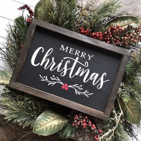 Merry Christmas Black Farmhouse Style Wooden Sign – Laura Lambrecht