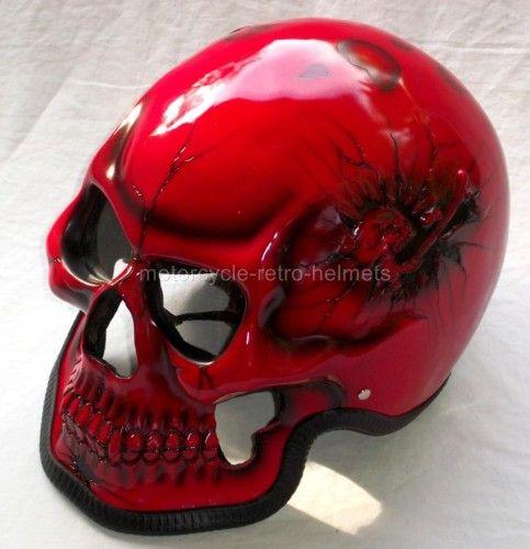 Motorcycle Helmet Skeleton Death Red Skull Rider Ghost Metallic Fullface 3D - Motorcycle Retro Helmets