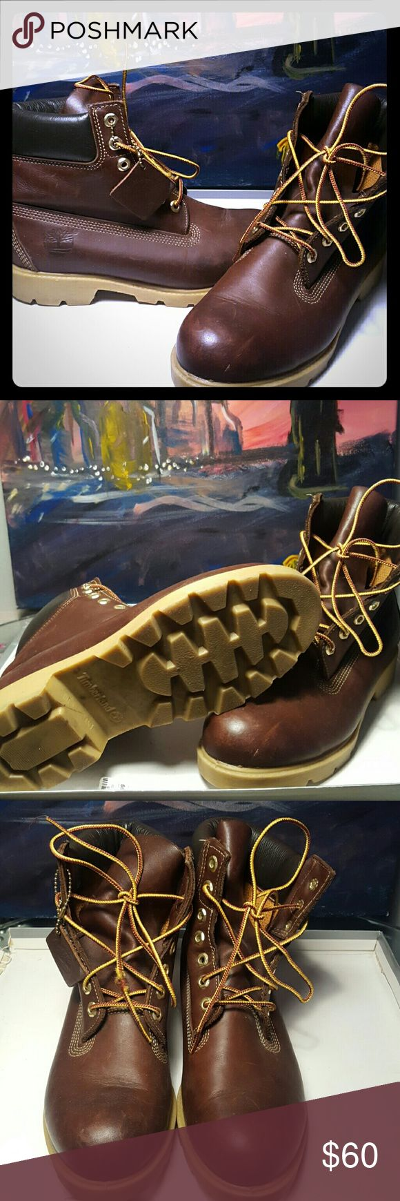 Gently worn Brown leather Timberland boot Men's boot size 7.5 gently worn construction boot Timberland Shoes Winter & Rain Boots