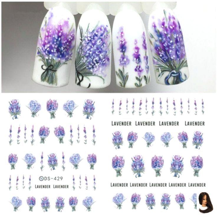 #Art #Decals #Flower #Fresh #Lavender #Nail, #Art #Decals #flower #Fresh #lavender #nail #su… – Summer Acrylic Nails