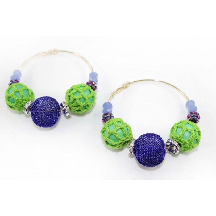 Crochet , Lace, Beads Mega Hoop Earring - Blue http://nyfashionstar.com/handmade/jewelry/earrings/crochet-lace-beads-mega-hoop-earring-blue.html