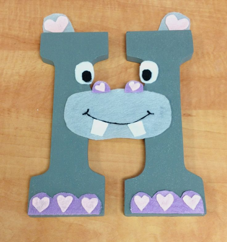 H is for HIPPO! Children's Alphabet Wall Decor. The letter 'H' craft. Made from wooden letter from Michael's, acrylic paint and felt
