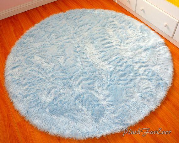 Blue Nursery Rug 4u0027 Baby Blue Luxury Faux Fur Throw Area Rug Round Rug Https