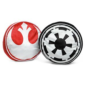 "One of these Star Wars Throw Pillows features the Starbird from the Rebel Alliance and the other has the Imperial Crest of the Galactic Empire. 15"" diameter. Flip over for plain, undecorated side."