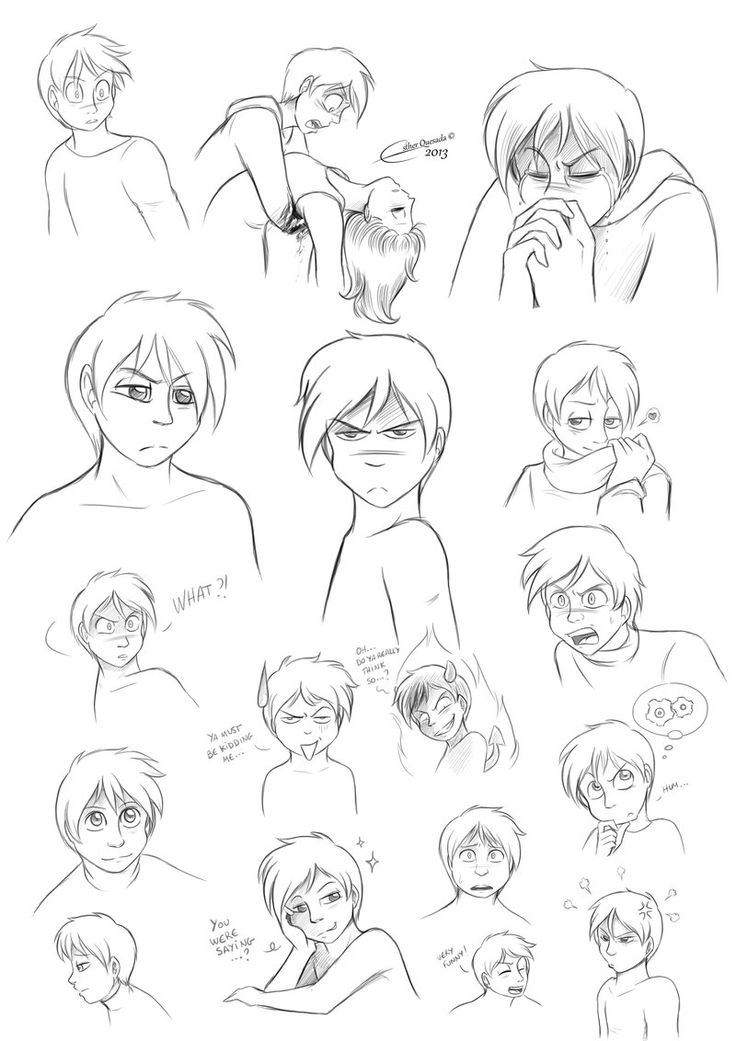 Ryan Malcovitch - Expressions. One of my favourite characters since I created him. Ryan is the main character of my Hell and Heave comic.  You can find it for free oline: http:hellandheaven.net