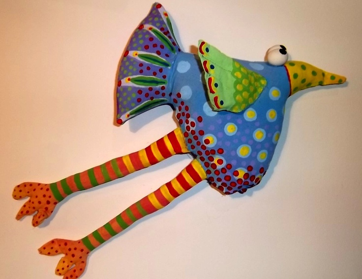 Whimsical Bird Soft Sculpture Wall Art