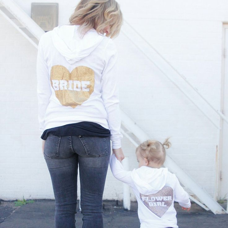 Bride and matching flower girl hoodie zip up sweatshirts perfect gifts for your wedding party