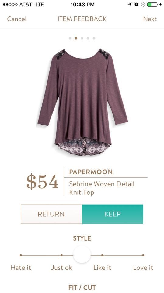 I LOVE this: purple, button back, and a lovely pattern!! Papermoon Sebrine Woven Detail Knit Top