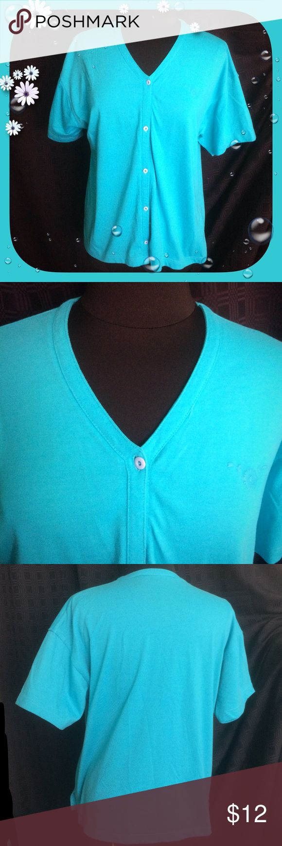 """Turquoise Cardigan / Short Sleeve / V neck Turquoise Cardigan / Short Sleeve Approx measurements laying flat: Bust 20"""" & Length 25"""" / No tags - it feels like a medium weight cotton to me.  Please feel free to make an offer - Enjoy BIG discounts on bundles & save $$$ on shipping! I package safely & ship fast.  TY & Happy Poshing! 💜💜💜B6 Tops Button Down Shirts"""
