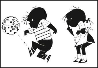 Kaart Jip en Janneke met een bal Ansichtkaart Jip en Janneke met een bal. Illustratie Fiep Westendorp. Kinderkaart monochrome zwart-wit