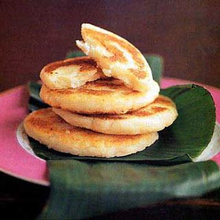 """Fried Masa Cakes with Cheese (Arepas de Queso) I used the wrong flour (Maseca brand masa instead of """"arepa flour"""") and these didn't turn out quite right."""