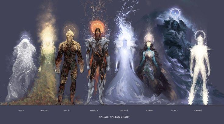 """""""Величайших среди духов эльфы называли Валар, Властителей Арды, — которых люди часто звали богами. Владык Валар семь; и Валиэр, владычиц Валар, тоже семь. Вот какими на языке эльфов Валинора были их имена — хоть в речах эльфов Средиземья они звались по другому, а среди людей их имена и вовсе разнообразны. Мелькор же более не причислялся к Валар, и имя его не произносилось на Земле."""""""