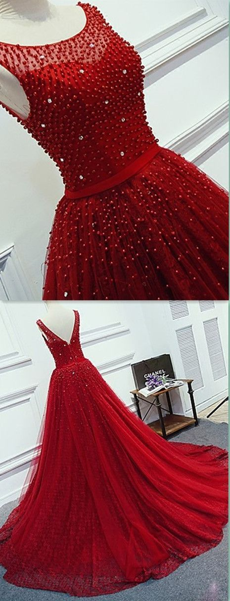 Modest Quinceanera Dress,Red Ball Gown,Beaded Prom Dress,Fashion Prom
