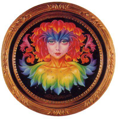 花魔女 The witch of a flower 1974年「花魔女」 30X30cm木製円板・油彩  銀座ギャラリーデコール