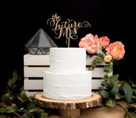 Cake Decorations For Wedding Shower : Bridal Shower Cake Topper in Glitter -